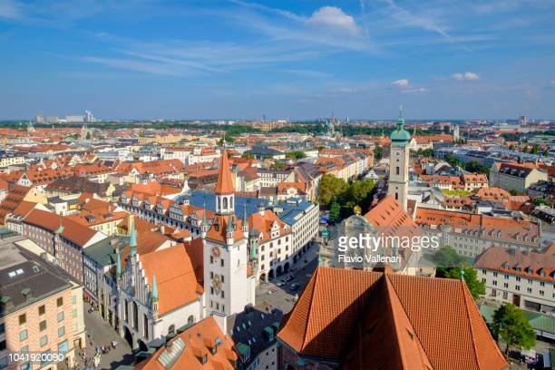 munich, high angle view (bavaria, germany) - marienplatz stock pictures, royalty-free photos & images