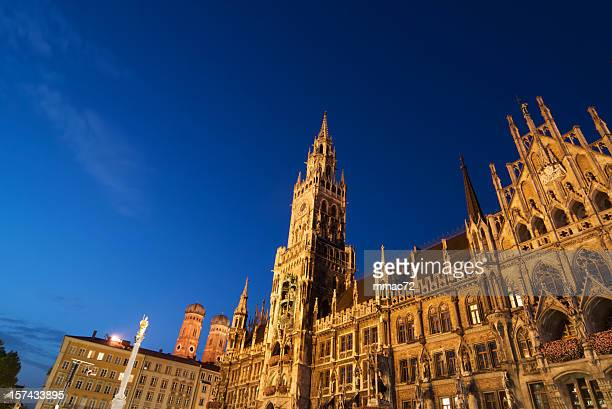 munich new tower hall - new town hall munich stock pictures, royalty-free photos & images