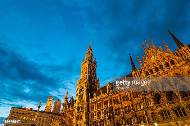 munich new tower hall - glockenspiel stock photos and pictures