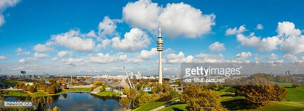 munich panorama - olympiastadion munich stock pictures, royalty-free photos & images