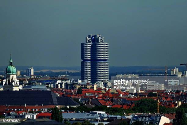 Munich. Panoramic view  to the BMW  headquarters building,