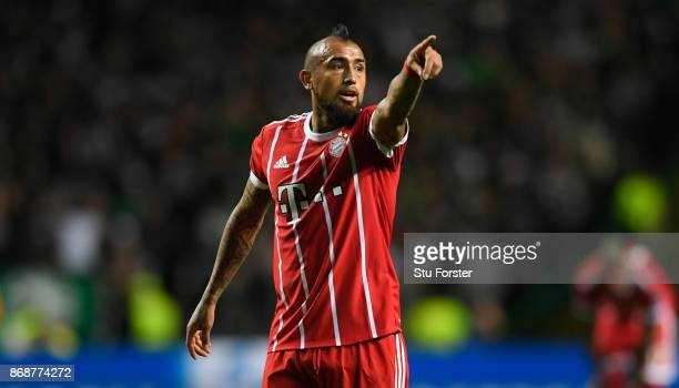 Munich player Arturo Vidal reacts during the UEFA Champions League group B match between Celtic FC and Bayern Muenchen at Celtic Park on October 31...
