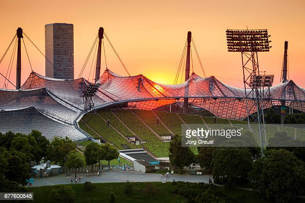 munich sunset - olympiastadion munich stock pictures, royalty-free photos & images