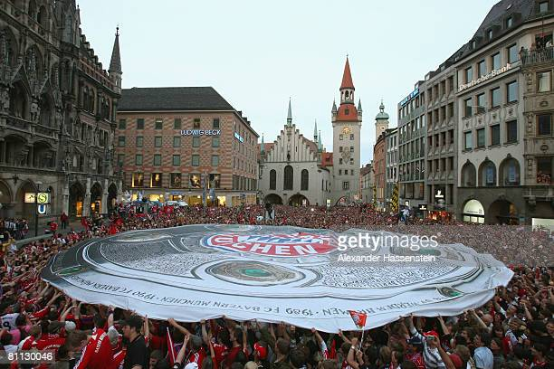 Munich supporters celebrate during the Bayern Munich champions party at the Marienplatz on May 17 2008 in Munich Germany