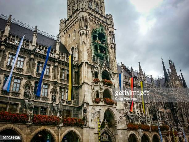 munich town hall and clock - new town hall munich stock pictures, royalty-free photos & images