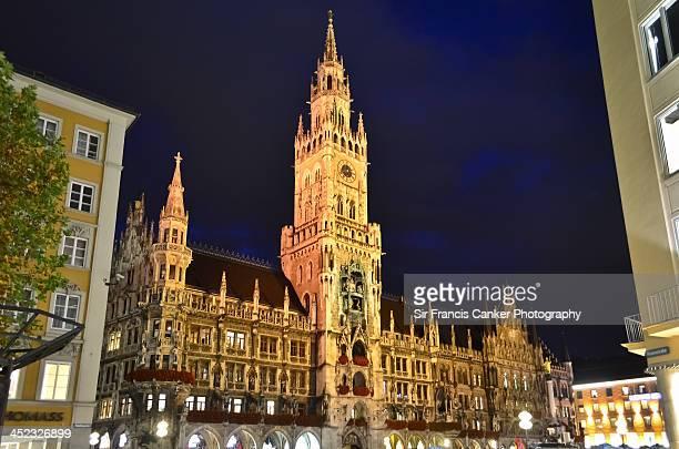Munich Town Hall Palace illuminated at night