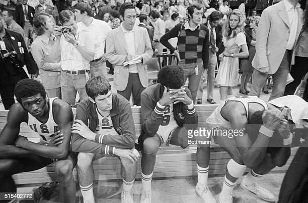U S players are shown dejected after losing to Soviets in the Olympic Gold Medal basketball game