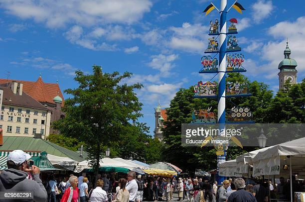Munich Viktualienmarkt Market square Bavaria Germany Europe