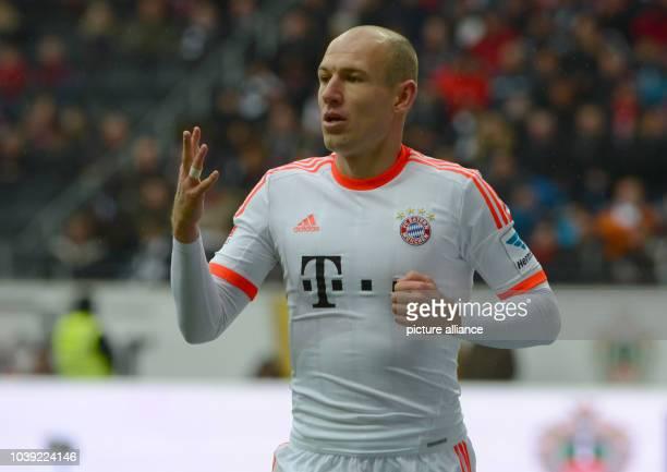 Munich's Arjen Robben gestures during the Bundesliga soccer between Eintracht Frankfurt and Bayern Munich at Commerzbank Arena in Frankfurt Main...