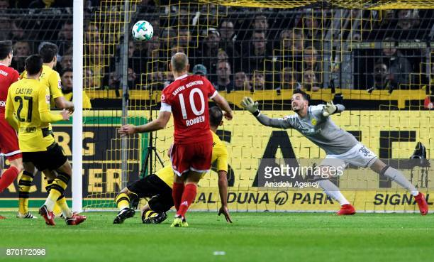 Munich's Arjen Robben scores a goal during Bundesliga soccer match between Borussia Dortmund and FC Bayern Munich at the SignalIduna Park in Dortmund...
