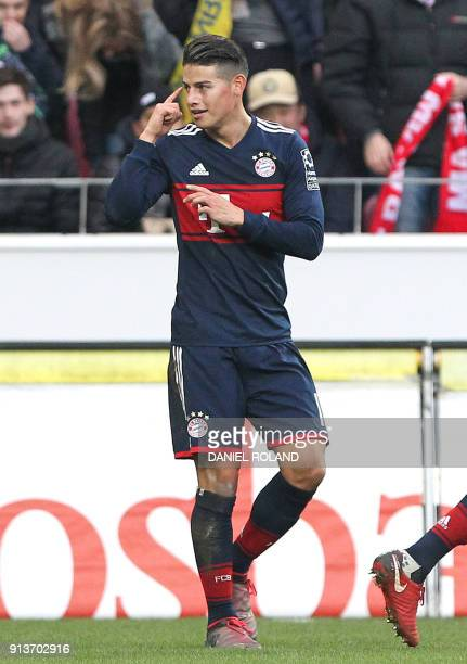 Munich's Bayern Munich's Colombian midfielder James Rodriguez celebrates scoring the 10 during the German first division Bundesliga football match...