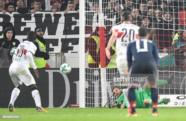 Munich's goalkeeper Sven Ulreich saves a penalty shot by Stuttgart's Congolese forward Chadrac Akolo in the last minute of the German first division...