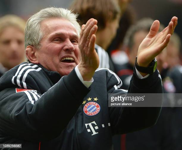 Munich's head coach Jupp Heynckes celebrates after the Bundesliga soccer between Eintracht Frankfurt and Bayern Munich at Commerzbank Arena in...
