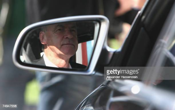 Munich?s head coach Ottmar Hitzfeld arrives for the seasons first training session at Bayern's training ground, Saebener Strasse, on June 28, 2007 in...