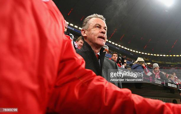 Munichs head coach Ottmar Hitzfeld looks on prior to the UEFA Cup Group F match between Bayern Munich and Aris Saloniki at the Allianz Arena on...