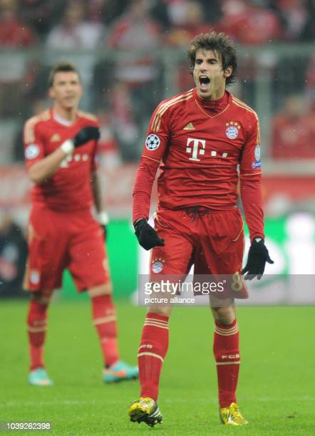 Munich's Javier Martinez reacts during the UEFA Champions League soccer round of sixteen between FC Bayern Munich and Arsenal FC at Fußball Arena...