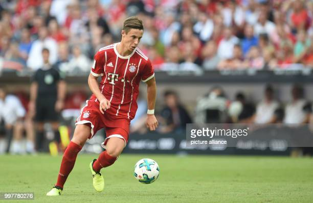 Munich's Marco Friedl on the ball during the Audi Cup soccer match between SSC Naples and Bayern Munich in the Allianz Arena in Munich Germany 2...