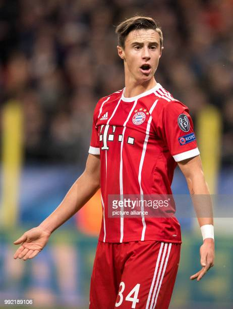 Munich's Marco Friedl reacts during the UEFA Champions League soccer match between FC Bayern Munich and RSC Anderlecht at the Constant Vanden Stock...