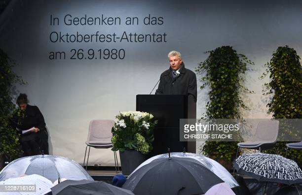 Munich's mayor Dieter Reiter speaks at 40th anniversary memorial of the Oktoberfest attack in Munich on September 26 2020 The attacker Gundolf...