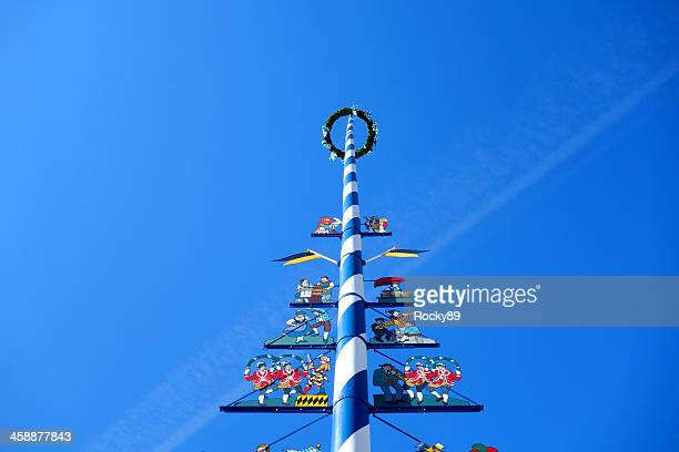munich's maypole - maypole stock pictures, royalty-free photos & images
