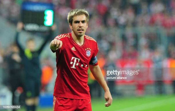 Munich's Philipp Lahm gestures during the UEFA Champions League semi final first leg soccer match between FC Bayern Munich and FC Barcelona at...