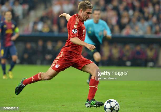 Munich's Philipp Lahm in action during the UEFA Champions League semi final first leg soccer match between FC Bayern Munich and FC Barcelona at...