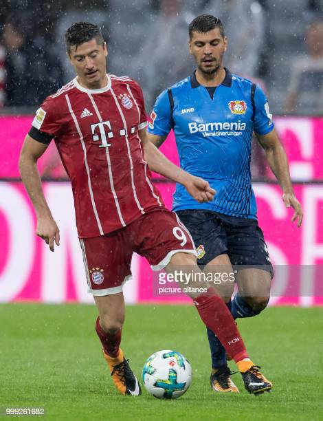 Munich's Robert Lewandowski and Aleksandar Dragovic of Leverkusen vie for the ball during the German Bundesliga football match between Bayern Munich...