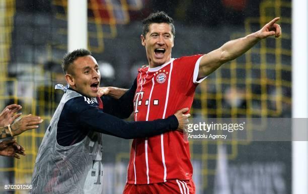 Munich's Robert Lewandowski celebrates a goal during Bundesliga soccer match between Borussia Dortmund and FC Bayern Munich at the SignalIduna Park...