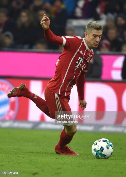 Munich's Robert Lewandowski during the Bundesliga soccer match between Bayern Munich and FC Augsburg at the Allianz Arena in Munich Germany 18...