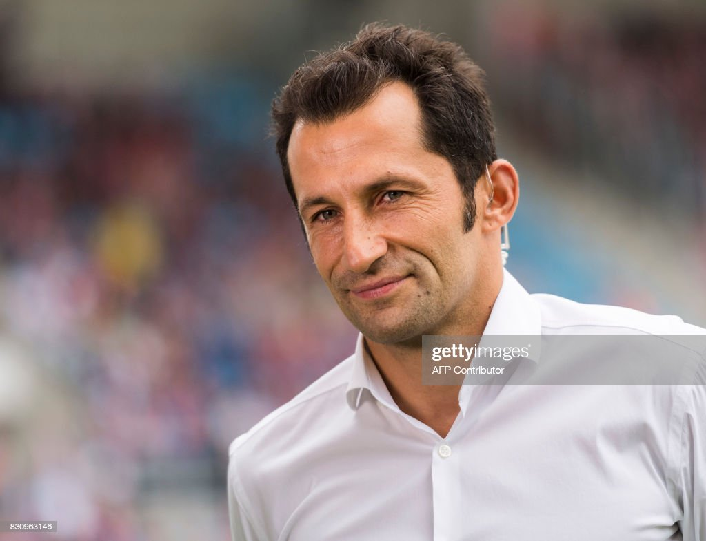 Munich's sports director Hasan Salihamidzic looks on prior to the German football Cup DFB Pokal first round match between German third division football club Chemnitzer FC and German first division football club FC Bayern Munich in Chemnitz eastern Germany, on August 12, 2017.