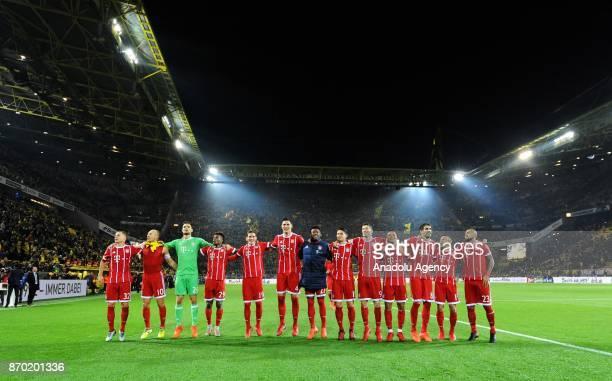 Munich's Team celebrates after Bundesliga soccer match between Borussia Dortmund and FC Bayern Munich at the SignalIduna Park in Dortmund Germany on...