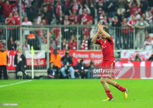 Munich's Thomas Müller leaves the pitch during the UEFA Champions League semi final first leg soccer match between FC Bayern Munich and FC Barcelona...