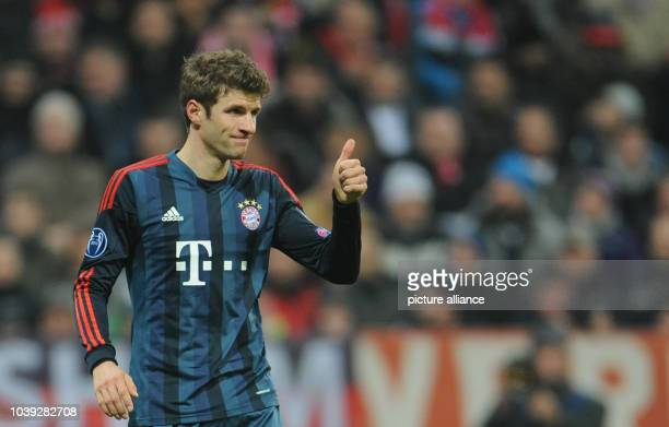 Munich's Thomas Mueller during the Champions League match between FC Bayern Munich and Manchester City at Allianz Arena in Munich Germany 10 December...