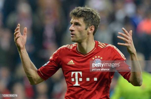 Munich's Thomas Mueller in action during the UEFA Champions League semi final first leg soccer match between FC Bayern Munich and FC Barcelona at...