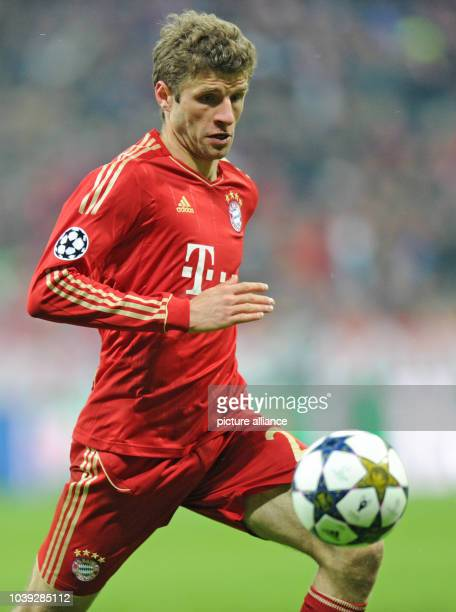 Munich's Thomas Mueller in action during the UEFA Champions League soccer round of sixteen between FC Bayern Munich and Arsenal FC at Fußball Arena...