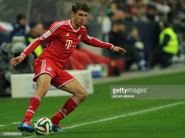 Munich's Thomas Mueller vies for the ball during the tryout between Red Bull Salzburg and FC Bayern Munich in the Red Bull Arena in Salzburg Austria...