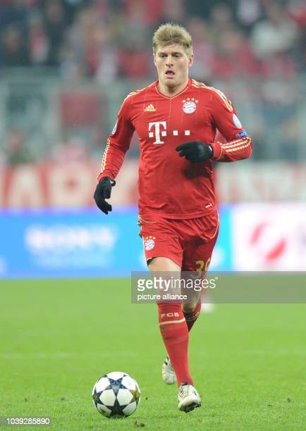 Munich's Toni Kroos in action during the UEFA Champions League soccer round of sixteen between FC Bayern Munich and Arsenal FC at Fußball Arena...