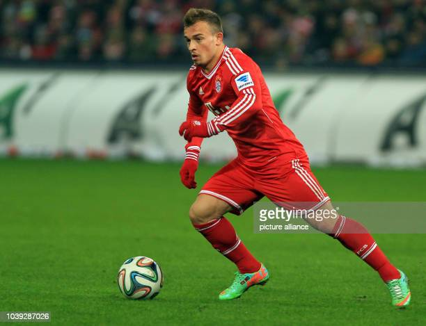 Munich's Xherdan Shaqiri vies for the ball during the tryout between Red Bull Salzburg and FC Bayern Munich in the Red Bull Arena in Salzburg Austria...