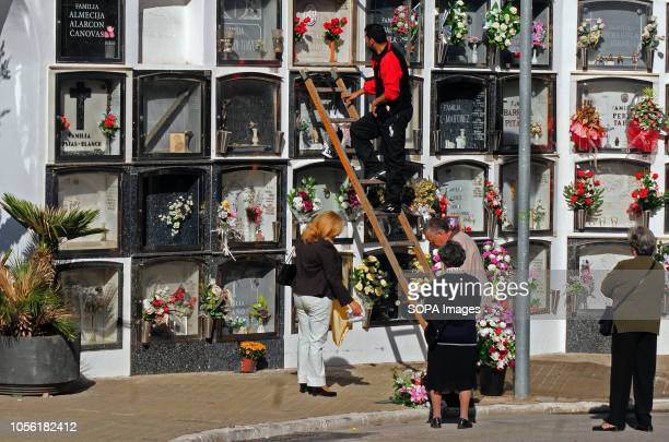 HOSPITALET BARCELONA SPAIN Municipal Cemetery of L'Hospitalet City where some relatives put flowers in the grave of a relative Spain celebrates the...