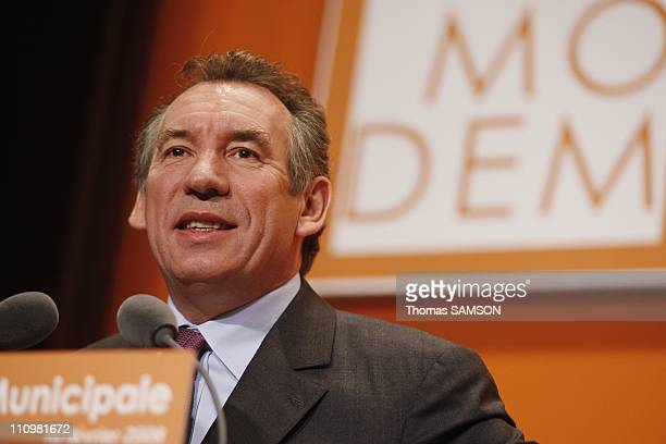 Municipal Convention of Modem in Paris France on February 10th 2008 Francois Bayrou president of Modem
