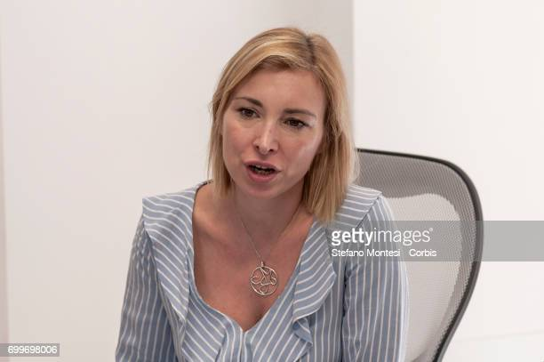 Municipal councilor of Brothers of Italy National Alliance Rachele Mussolini speaks during the press conference of Giorgia Meloni President Brothers...