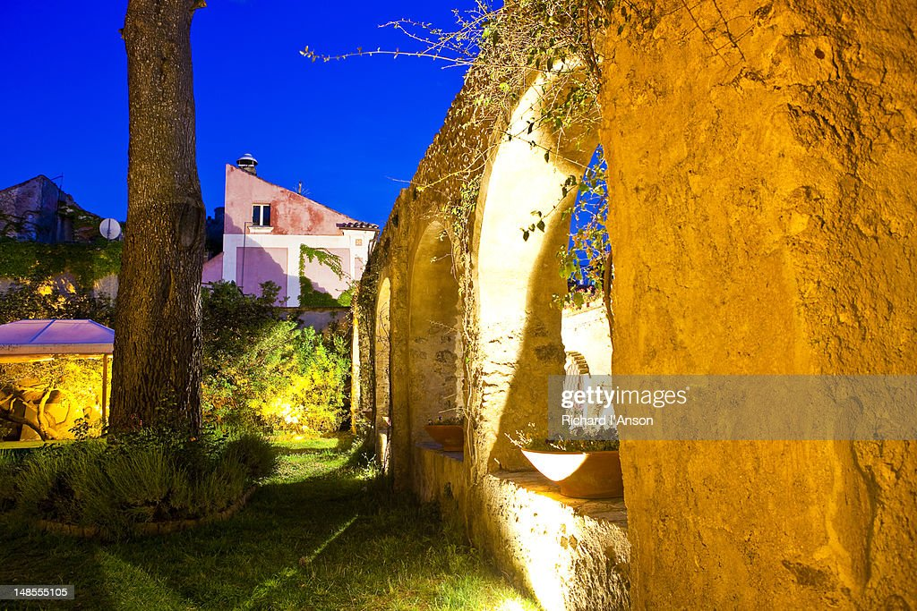 municipal garden on via san giovanni del toro amalfi coast stock