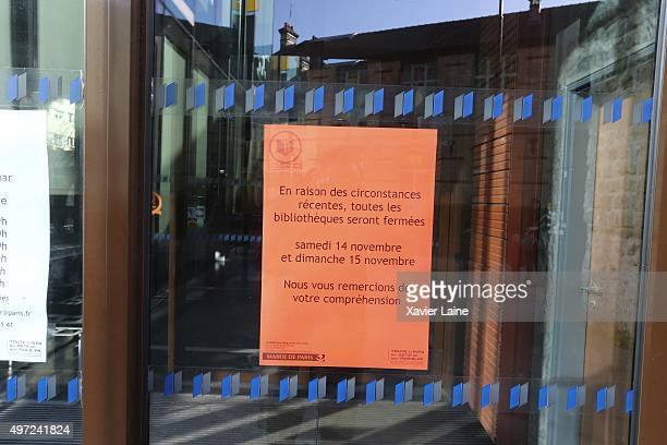 Municipal library is closed after the attack on November 15 2015 in Paris France