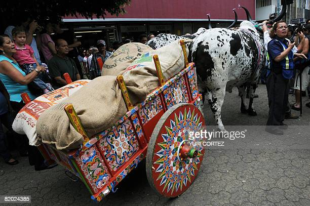 A municipal police officer stands guard next to a cart loaded with sacks of coffee during an act to celebrate the 200th year of the grain's harvests...