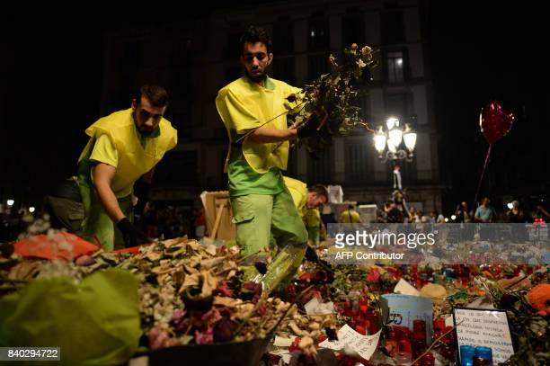 Municipal workers remove flowers and candles from a tribute in memory of the victims of last´s week attack at the Ramblas boulevard in Barcelona on...