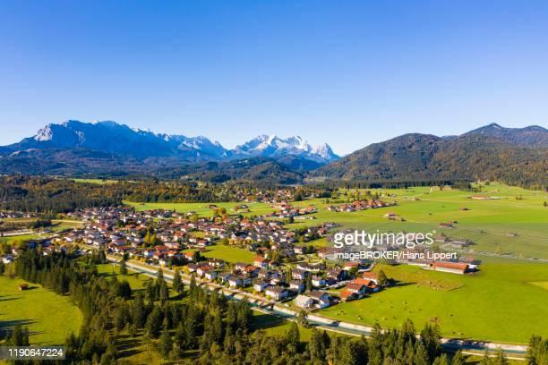 municipality of kruen off wetterstein range, aerial view, werdenfelser land, upper bavaria, bavaria, germany - krün ストックフォトと画像