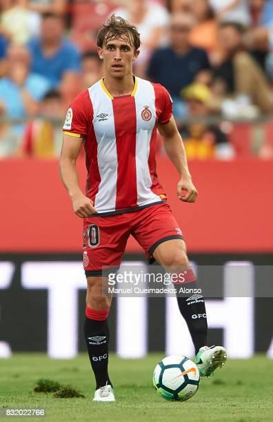 Muniesa of Girona in action during the preseason friendly match between Girona and Manchester City at Municipal de Montilivi Stadium on August 15...