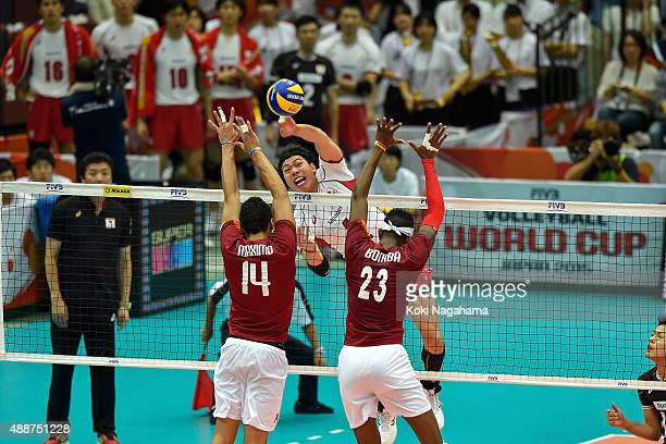 Munihiro Shimizu of Japan spikes the ball in the match between Japan and Venezuela during the FIVB Men's Volleyball World Cup Japan 2015 at the Osaka...