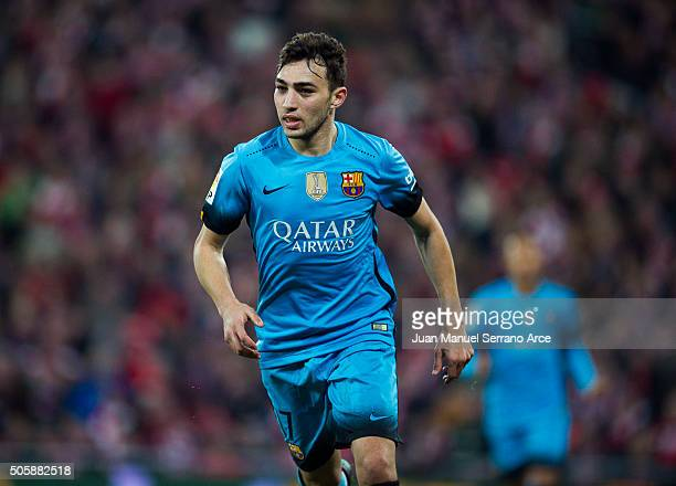 Munir El Haddad of FC Barcelola celebrates after scoring goal during the Copa del Rey Quarter Final First Leg match between Athletic Club and FC...
