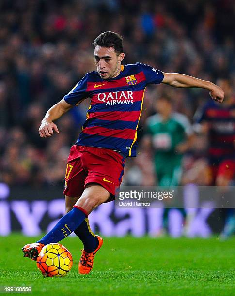 Munir el Haddadhi of FC Barcelona runs with the ball during the La Liga match between FC Barcelona and SD Eibar at Camp Nou on October 25 2015 in...